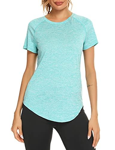 Wayleb Camiseta Deportivo Mujer Camiseta de Manga Corta Camiseta Holgada de Secado Rápido Camisetas de Malla Mujer Yoga Fitness Top Ropa Deportiva Entrenamiento Atlético