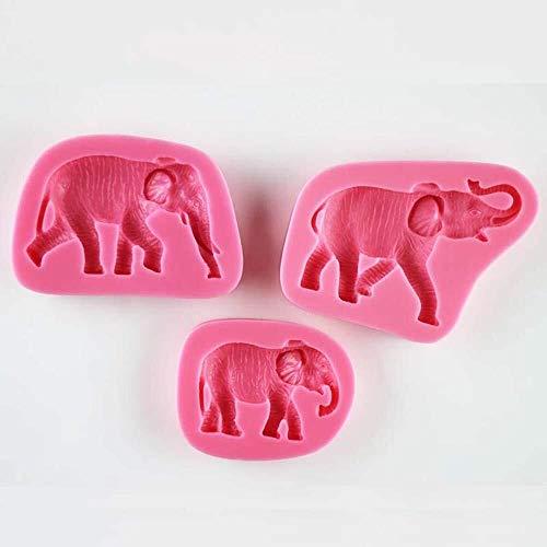 Ensemble de moule à pâtisserie Famille de trois moules en silicone fondant en forme d'éléphant, chocolat, pouding, fondants, biscuits, outils de cuisson for la décoration de gâteaux, argile de fabrica