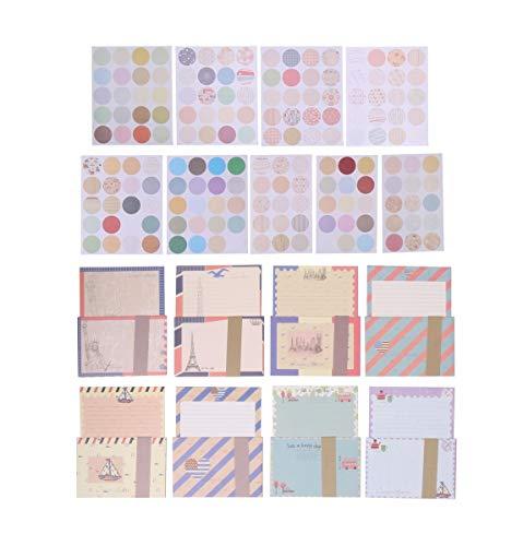 おしゃれ レターセット 8種類 シール160枚付 封筒 便箋 外国風 レトロ かわいい 手紙 メッセージ 大容量
