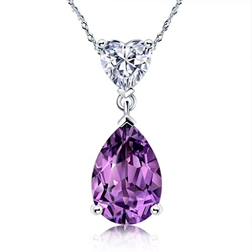 YXDEW Luck Pendant Chain Necklace Drop Shape 2.6 Carats Amethyst Pendant Necklace 925 Sterling Silver Pendant Necklace 18'', Jewelry For Women Necklace for Women honored