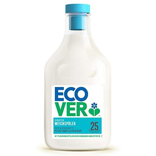 Ecover Weichspüler - Rose & Bergamotte (750 ml / 25 Waschladungen), Weichspüler mit pflanzenbasierten Inhaltsstoffen, ökologischer Weichspüler für weiche und duftende Wäsche