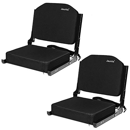 Jauntis Stadium Seats for Bleachers, Bleacher Seats with Ultra Padded Comfy Foam Backs and Cushion, Wide Portable Stadium Chairs with Back Support and Shoulder Strap, 2 Pack, Black