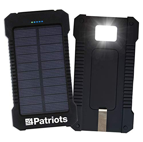4PATRIOTS Patriot Power Cell: Portable Solar Power Bank - Rechargeable External Battery 2 USB Ports, 8,000 mAh Lithium Ion Battery, LED Flashlight and IP67 Water Resistant for Hiking or Emergencies