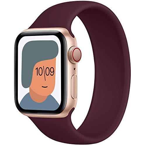 AUNDYYU Solo Loop Cinturino Compatibile con Apple Watch 38mm 40mm 42mm 44mm per iWatch Series 6 SE 5 4 3 2 1, Silicone Sport Elastico Gomma Senza Fibbia Bottoni Estensibile, 42/44mm #05 Vino Rosso