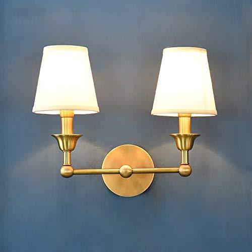 The only goede kwaliteit decoratie Nordic slaapkamerspiegel voor het bedlampje eenvoudige retro woonkamer-wandlampen zuiver koper dubbele kop Aisle