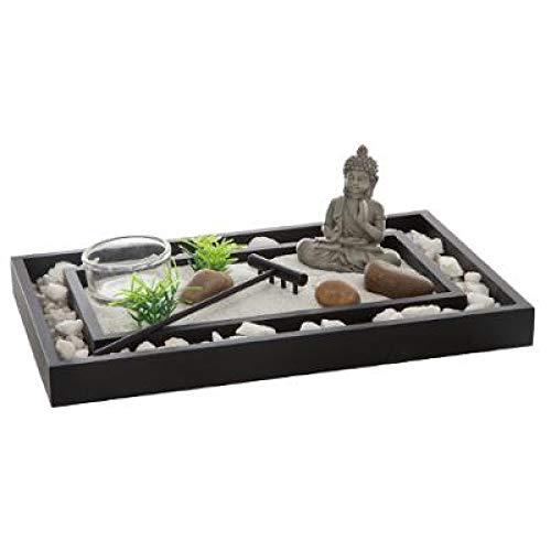 Ducomi Giardino Zen da Tavolo con Vassoio, Sabbia, Statuetta Buddha, Roccia - Kit Meditazione Giapponese - Accessori Casa Arredamento Interni Decorazione Idea Regalo (Bimyou)
