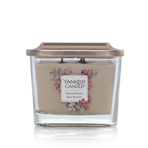 Yankee Candle Elevation Collection piattaforma con coperchio, con stoppini, quadrato, candela profumata, Velvet Woods