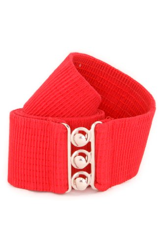 Malco Modes Luxury Vintage Child Elastic Cinch Stretch Belt, Metal Hook and Eye Clasp Buckle, Elastic Core, Cotton-Covered (Red Red Polka Dot, Small)
