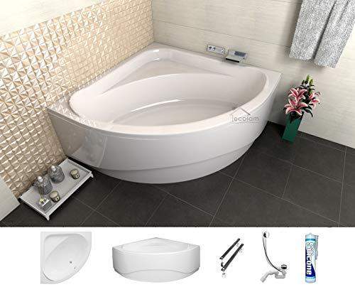 ECOLAM symmetrische Badewanne Eckbadewanne Standard Acryl weiß 140x140 cm + Schürze Ablaufgarnitur Ab- und Überlauf Automatik Füße Silikon Komplett-Set