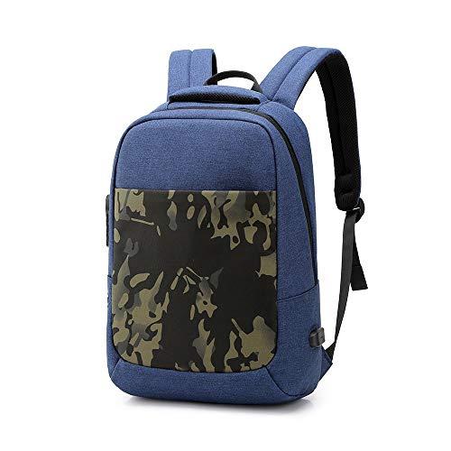 AN-JING Tragbar Bookbag Travel Einbruchsicherer Rucksack Charging Herrenmode Umhängetasche Leisure Computer Bag (Color : Blue)