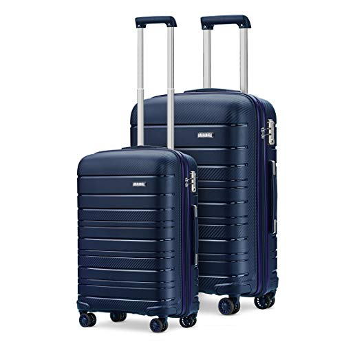 Kono 2 Piece Lightweight Luggage Set Polypropylene 20' Carry-on Hand Cabin Luggage + 28' Check in Hard Shell Suitcase with TSA Lock (Navy)