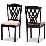 Baxton Studio Set of 2 171-10953-AMZ Dining Chairs, Sand/Dark Brown