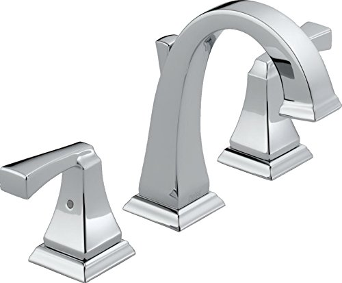 Delta Faucet Dryden Widespread Bathroom Faucet Chrome, Bathroom Faucet 3 Hole, Bathroom Sink Faucet, Metal Drain Assembly, Chrome 3551LF