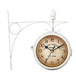 CALIDAKA Vintage Double Sided Wall Clock, Wrought Iron Wall Hanging Clock, Train Station Style Round Clock with Scroll Art Clock Decorative Double Faced Wall Clock for Garden Home Décor