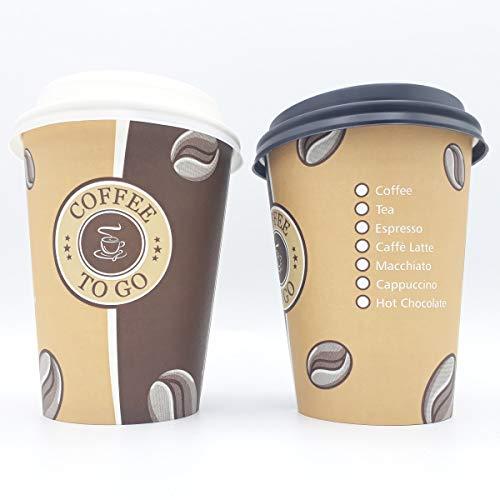 partypack 100 Premium Kaffeebecher 300ml und Deckel weiß Pappbecher Coffee to go 0,3l Hartpapierbecher Pappbecher für Kalt- und Heißgetränke