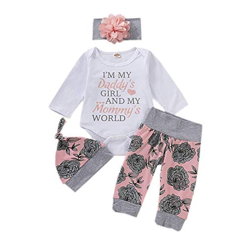 Infant Baby Boys Girls Clothes 3PCS Outfits Romper Shorts Headband for Daddy and Mommy12-18MonthsLong Sleeve