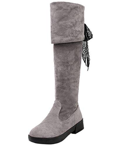 BIGTREE Oberschenkel Stiefel Damen Winter Faltbare Faux Wildleder Elegant Spitzen Knie Hohe Stiefel Grau 42 EU