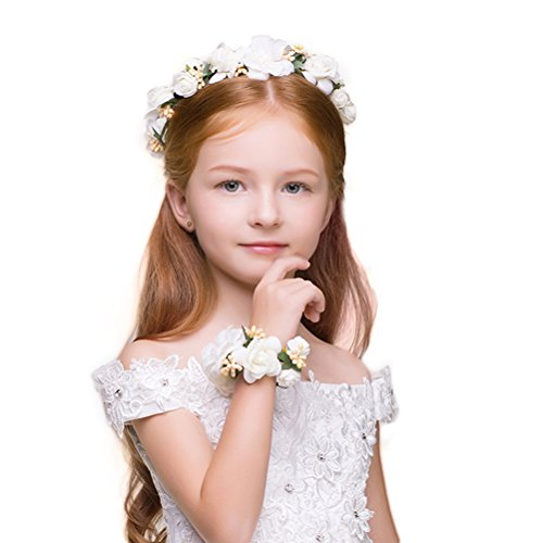 DDazzling Girls Flower Berries Crown Headband Floral Crown with Floral Wrist Band for Wedding Festivals (White)