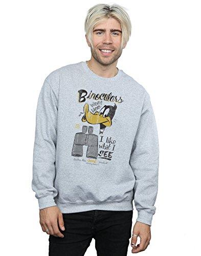 Looney Tunes Herren Daffy Duck Binoculars Sweatshirt Large Sport Grey