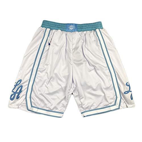 MRYUK Los Ángeles Lakers Lebron James City Versión de los Pantalones Cortos de Entrenamiento Deportivo, Pantalones Cortos de Malla Bordados, Fibra de poliéster, Secado ráp White-M