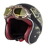 Harley Motorradhelm Erwachsene Retro Anti Collision Mesh Baumwollfutter Motorradhelme mit Brille...