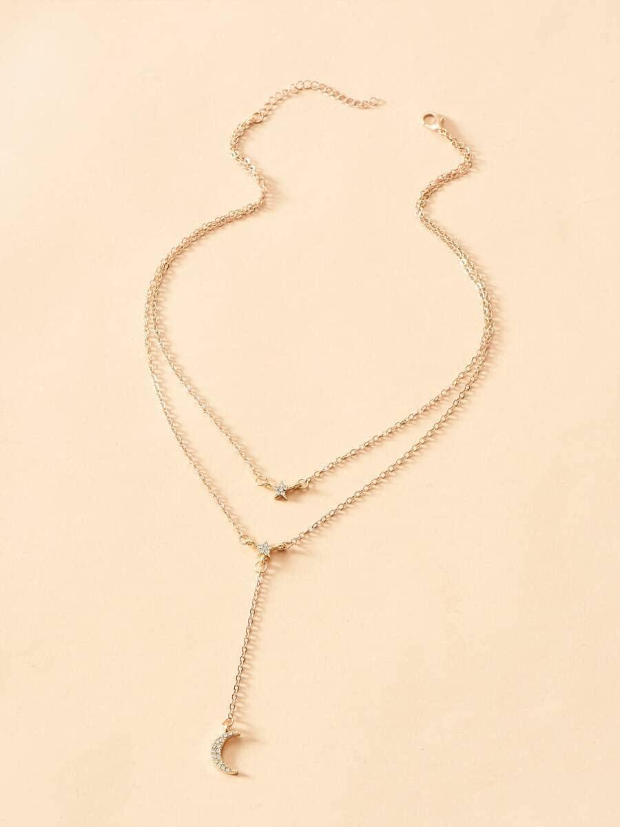 Necklace Pendant Moon Pendant Y-Lariat Necklace (Color : Gold)