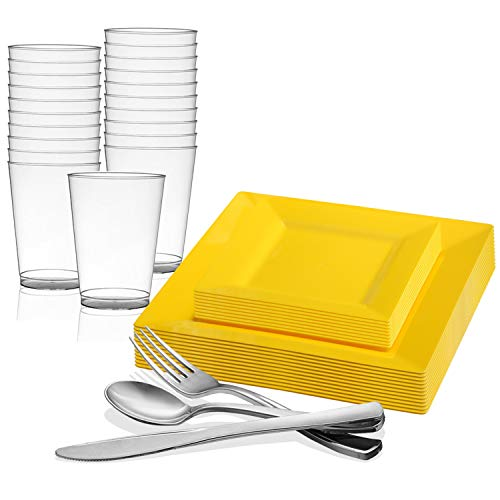 Kaya Collection - Square Buttercup Yellow Disposable Plastic Dinnerware Party Package - Includes Dinner Plates, Salad/Dessert Plates, Silver Cutlery, Tumblers (120 Person Package)