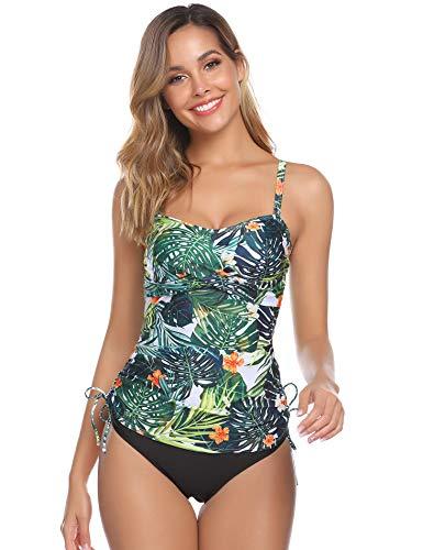 Hawiton Tankini para Mujer Traje de Baño de Dos Piezas Tirantes Ajustables Tops Tankini con Breifs, Diseño de Flores Bañadores para Playa, Piscina, Vacaciones