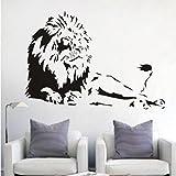 Pegatinas de pared de vinilo de león animal león decoración del hogar sala de estar creativo mural arte apliques de dibujos animados extraíble pegatina de pared 58 x 83 cm