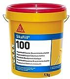 SikaFill 100, Rojo, Revestimiento elástico para impermeabilización de cubiertas visitables, protección de paredes medianeras y puenteo de fisuras, 5kg