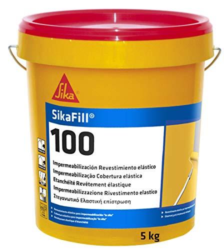 SikaFill-100, Revestimiento elástico para impermeabilización de cubierta, Rojo teja, 5kg