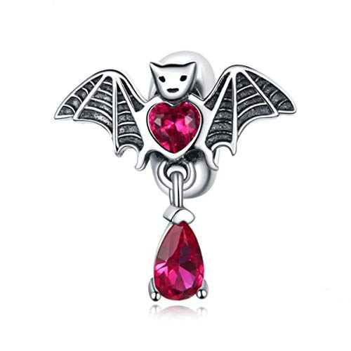 Women's Charm Beads 925 Sterling Silver Colorful Sunflower Rose Bear Silicone Stopper Spacer Beads For Bracelets,Compatible with Pandora European Style Bracelet Charm (Animal Bat Charm)