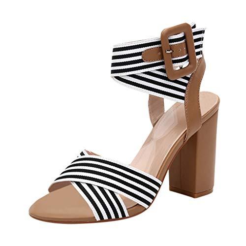 Damen Sandalen Streifen Riemchensandale Römersandale Sandalette Riemchenpumps Plateau Blockabsatz Schuhe Slingback Peep Toe Sommer Sandals Freizeitschuhe(1-Braun/Brown,37)