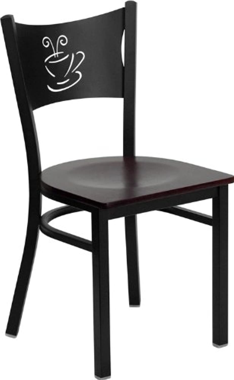 Flash Furniture HERCULES Series Black Coffee Back Metal Restaurant Chair - Mahogany Wood Seat