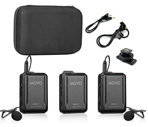 Movo WMX-1-DUO 2.4GHz Dual Wireless Lavalier Microphone System Compatible with DSLR Cameras, Camcorders, iPhone, Android Smartphones, and Tablets (200' ft Audio Range)