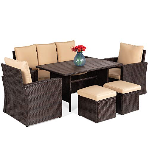 Best Choice Products 7-Seater Conversation Wicker Sofa Dining Table, Outdoor Patio Furniture Set w/Modular 6 Pieces, Cushions, Protective Cover Included - Brown/Beige