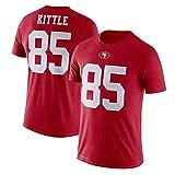 George Kittle 85# -San Francisco 49ers Jugend-Rugby-Trikot American Football Sports Freizeit-T-Shirt, atmungsaktiver Schweiß, schnell trocknend S-3XL-E-M