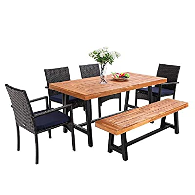 PHI VILLA 6 PCS Outdoor Patio Dining Set with 1 Premium Acacia Wood Table,4 Rattan Cushioned Chair and 1Wooden Bench Furniture Set for Backyard, Porch, Balcony, Lawn, Poolside