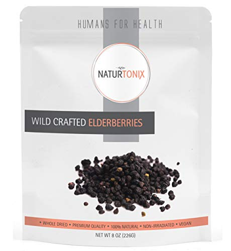 Dried Elderberries 100% Natural European Whole Wild Crafted Elder Berry Sambucus Nigra 1 Pound Resealable Pouch