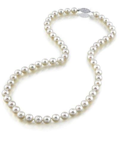 Collana di perle bianche giapponesi Akoya coltivate, da 6,5 a 7 mm, qualità AA+, in oro 14 K, lunga 45,7 cm e oro bianco, colore: Gold/White, cod. 1