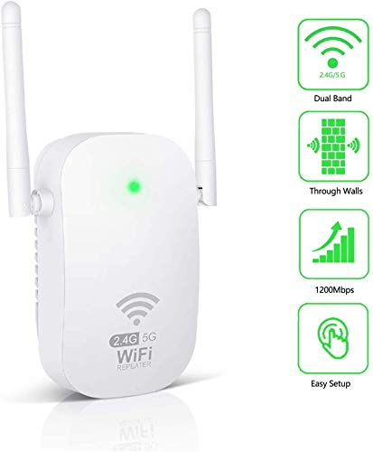 small WiFi Range Extender, 1200 Mbit / s Wi-Fi Booster, WPS 2.4 and 5 GHz Dual Band Wireless Signals…