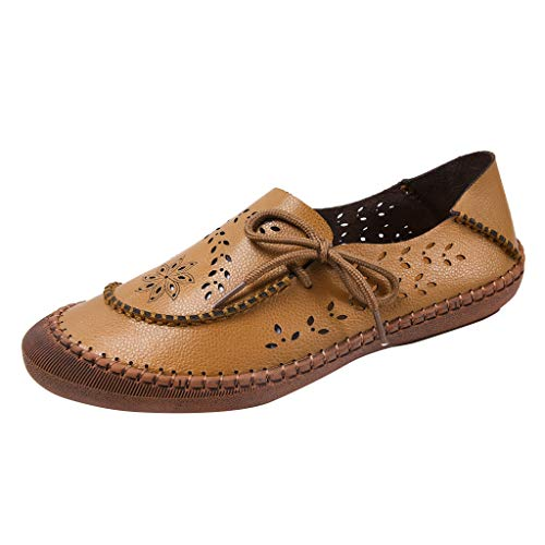 Best Review Of Women's Loafers Shoes Brown Slip-on Non-Slip Flat Shoes Ladies Hollow Out Breathable ...