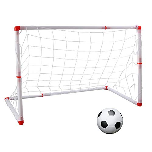 LANGYINH Kids Football Goals Portable Soccer Ball Goal Post Net Set Kids Sport Game Toy with Ball And Pump,Perfect for Kids Football Game
