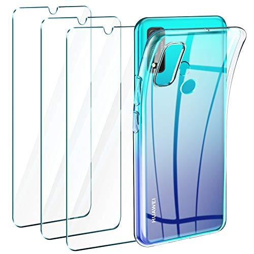 LeathLux Funda Huawei P Smart 2020 + 3 x Protector de Pantalla Huawei P Smart 2020, Transparente TPU Silicona Funda + Cristal Vidrio Templado Protector de Pantalla y Carcasa Huawei P Smart 2020