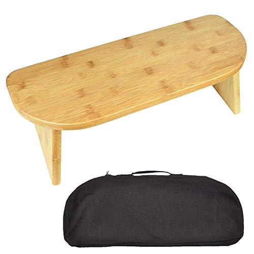 KAXO Banco de Meditación de Arrodillamiento Portátil con Patas Plegables, Banco de Yoga de Bambú Ergonómico de Heces Perfecto para la Práctica Extendida: Incluye Bolsa de Transporte