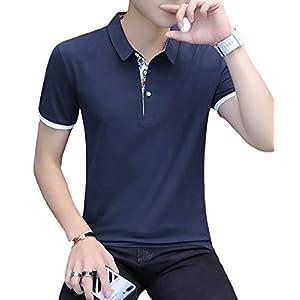 [meryueru(メリュエル)] 選べる 3タイプ カジュアル ポロシャツ 大人 スタイル お洒落 トップス 半袖 シャツ カットソー ヘビロテ tシャツ 20代 30代 40代 着回し ビズポロ しっかり モード スポーティー ファッション オシャレ カッコイイ かっこいい おしゃれ シンプル ベーシック インナー はんそで ファッションメンズ カッコいい メンズ (M ボタニカル-ネイビー)