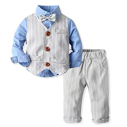 SANMIO 3tlg Baby-Jungen Bekleidungssets Strampler Taufkleidung Set Hemd + Hose + Weste + Fliege Krawatte Anzug für Baby Geburtstag (Blau4, Etikett 100 (Höhe 95-105 cm))