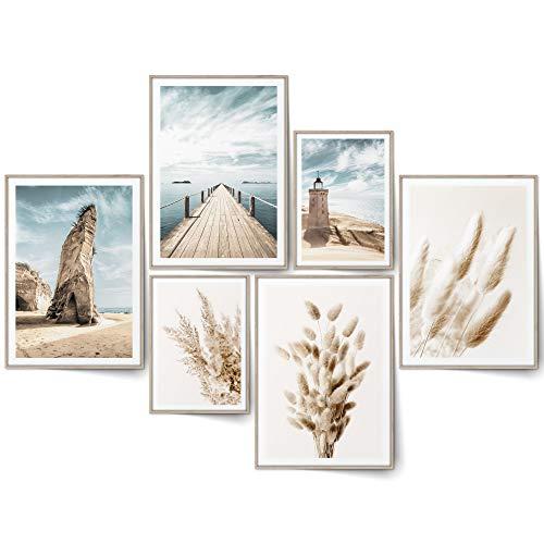 BLCKART Beige Love Küste Poster Set Beidseitige Pampasgras Bilder Strand Leuchtturm Dünen Moderne Schlafzimmer Deko (L | 4x A3 | 2x A4 | ohne Rahmen, BEIGE LOVE BEACH PAMPAS)