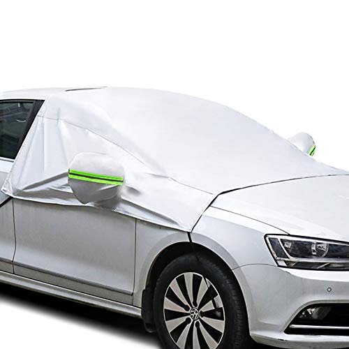 ELUTO Car Windshield Snow Cover for Car Front Windscreen Ice Cover Protector Waterproof Car Windshield Sun Shade Half Car Cover with Hook and Straps Fit Most Car, SUV, Truck, Van 96'x77'x65'