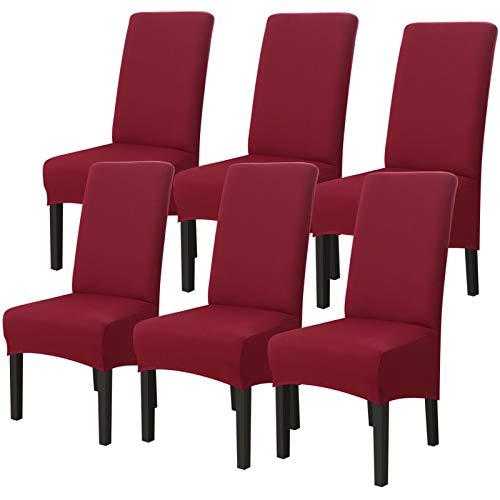 JuneJour 1/2/4/6 fundas de silla de tamaño grande, elásticas para sillas de comedor, fundas protectoras extraíbles y lavables para comedor, hotel, banquete, ceremonia